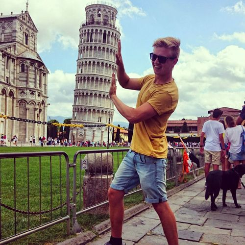 Doing the piza thing Man Piza Architecture One Person Day Young Adult City Piza, Italy Pizah Pizai Tower Outdoors Sunglasses Men Adults Only People Adult Sky Only Men One Man Only First Eyeem Photo Outdoor Cıty Posing Pose Miles Away