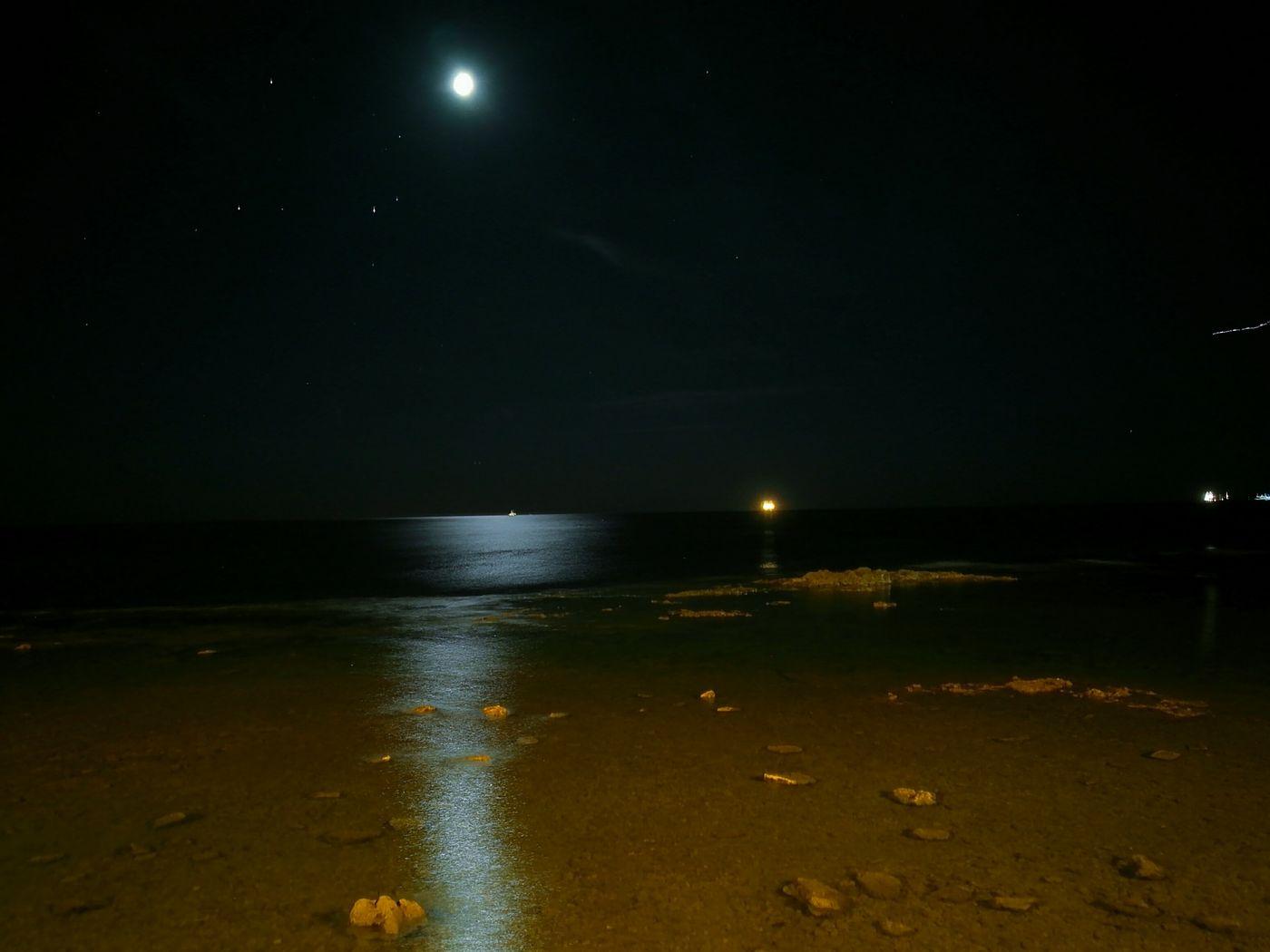 Moonlight Black Sky Night Photography Sea Lonliness