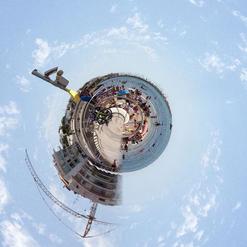 Sky Real People Arts Culture And Entertainment Fish-eye Lens Large Group Of People Chain Swing Ride Amusement Park Outdoors Day Architecture Distorted Image Eye4photography  EyeEm Best Edits EyeEmBestEdits EyeEmBestPics EyeEm Gallery Eyeem Market Eyeemphotography Eye Eyem Gallery EyeEm Masterclass EyeEmbestshots Eyeem Photography Eye For Photography Eyemphotography