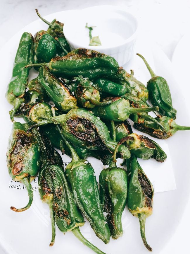 Peppers Shishito Peppers Green Color Food Healthy Eating Plate Close-up Freshness Ready-to-eat Appetizer
