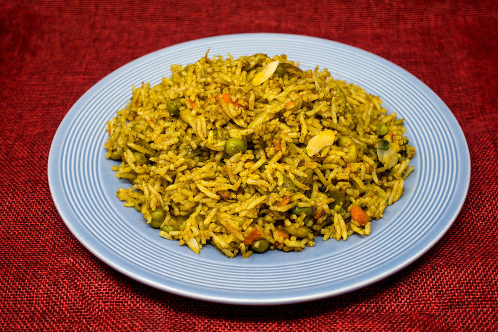 Rice Basmati Close-up Colored Background Day Food Food And Drink Freshness Healthy Eating Indian Food Indoors  No People Plate Ready-to-eat Red Studio Shot Tablecloth Yellow
