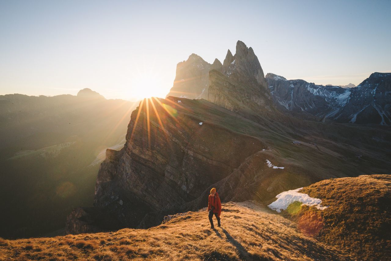 All the way up. Mountain Mountain Range Sunlight Hiking Nature Adventure Sunset Beauty In Nature Scenics One Person Sun Tourism Landscape Mountain Peak Outdoors Rear View Men Leisure Activity Travel Destinations Sky Dolomites, Italy Sunrise