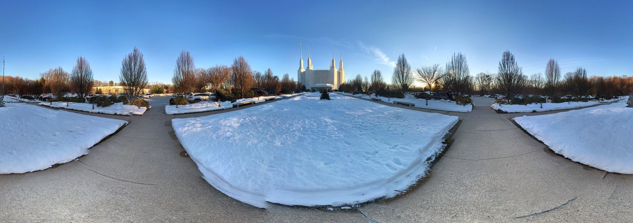 Panaromic Mormon Temple Temple IPhoneography Clouds And Sky Evening Sky Snow Covered