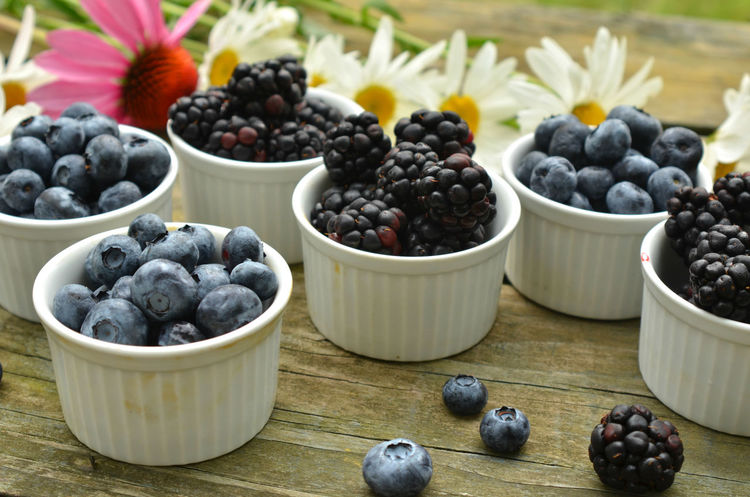 blueberries and blackberries in small white ramekin portions with garden daisies on rustic wood table Blackberries Blackberry Blackberry - Fruit Blueberries Blueberry Bowl Close-up Day Food Food And Drink Freshness Freshness Fruit Fruits Healthy Eating Healthy Food Healthy Fruit Indoors  No People Ready To Eat Ready To Eat Healthy Sweet Food Table Vegan