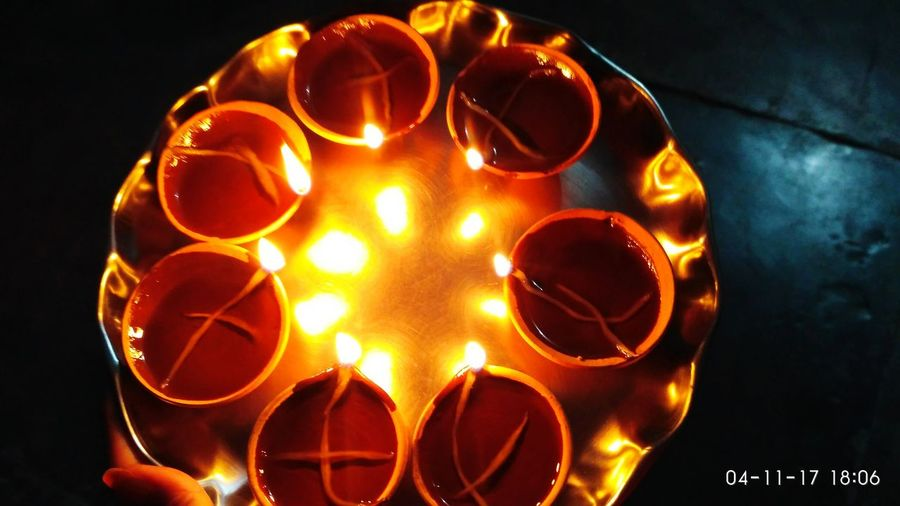 Happiness Festival Diyaa Worship Tradition God No People Indoors  Illuminated Black Background