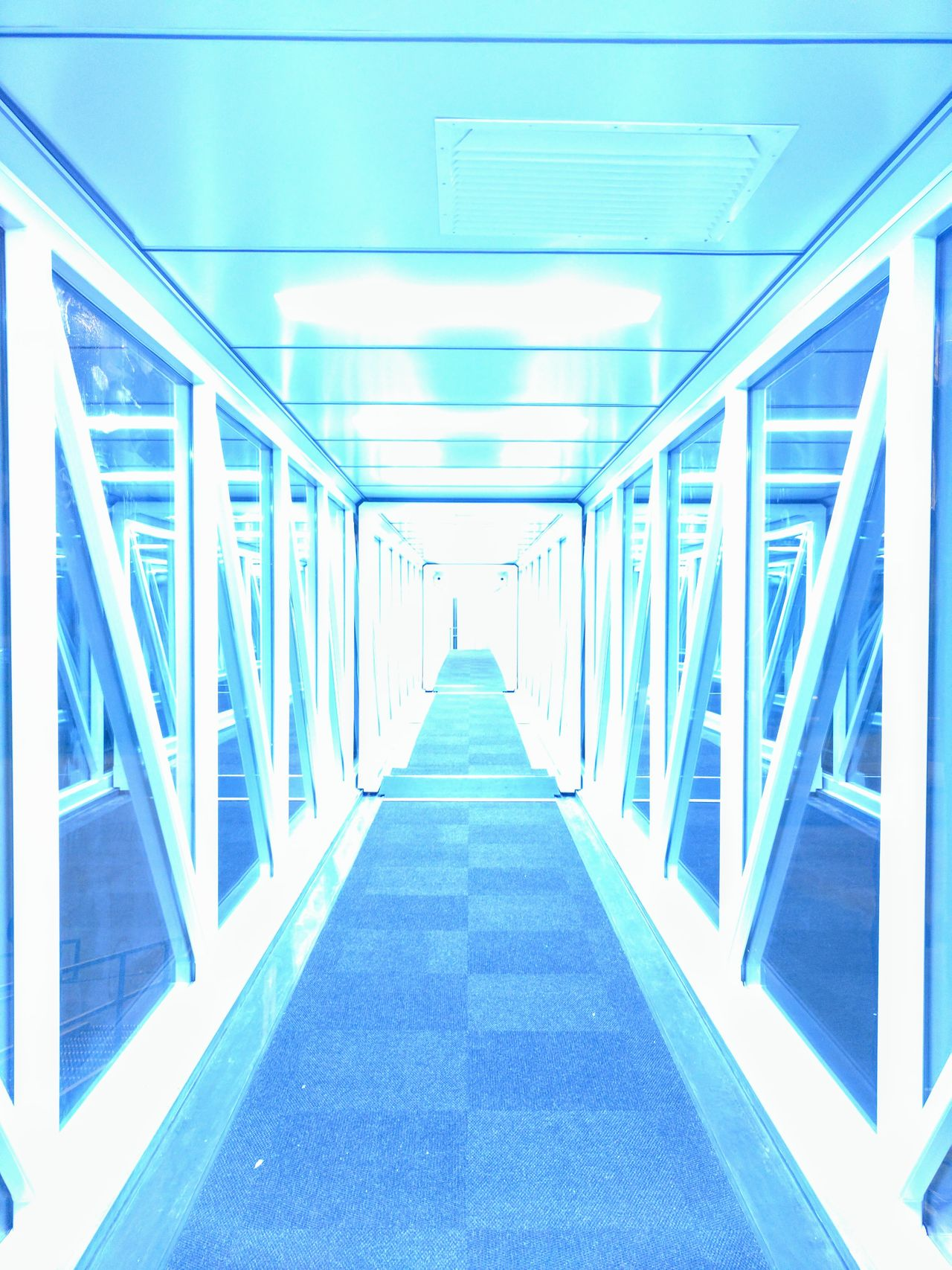 Architecture The Way Forward Indoors  Built Structure No People Modern Elevated Walkway Tourism Traveling Abstract Travel Flying Transportation Futuristic City Blue Taking Photos Travel Destinations Idyllic EyeEm Ethereal Enjoying Life Taking Pictures Airport HeavenSomeone turned on the lights right as I took the picture but I thibk it turned out cooler this way :)