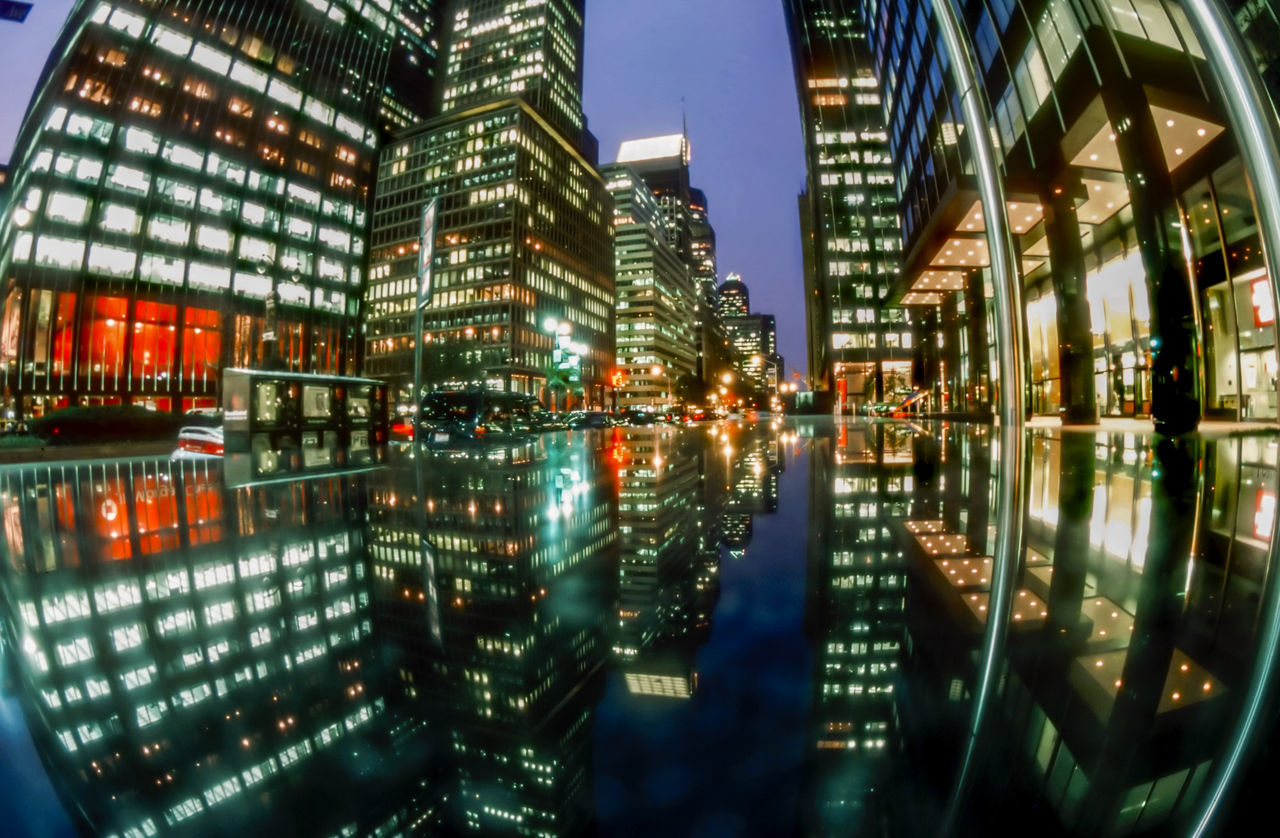 reflection, illuminated, architecture, building exterior, built structure, night, no people, water, city, outdoors, sky