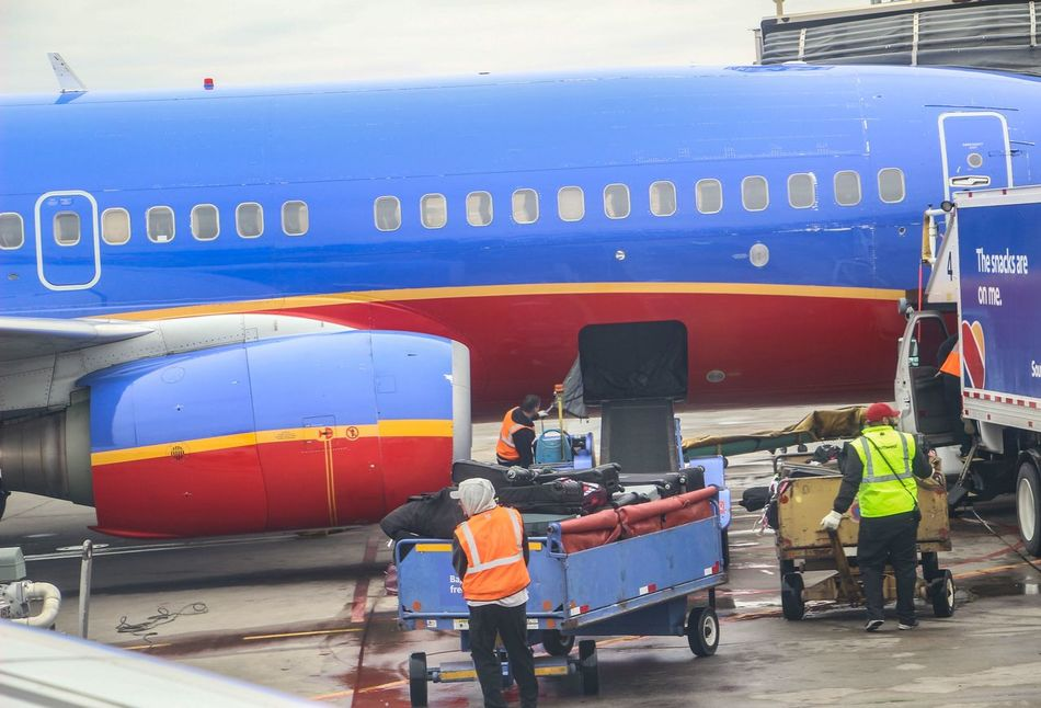 Airport Worker Workers Employee Employees Plane Carrying Luggage Travel
