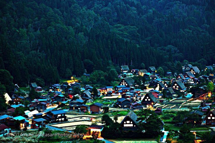Shirakawago Gokoyama Village Night Lights Night Landscape