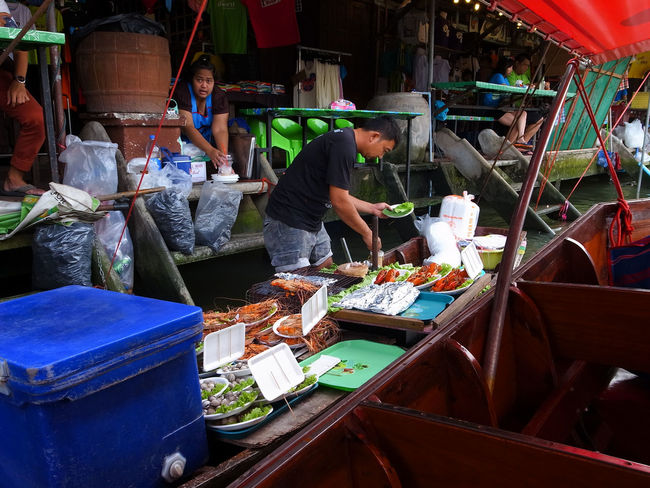 Amphawa  Boat Floating Market Market Market Stall River Spotted In Thailand Thai Food Thailand