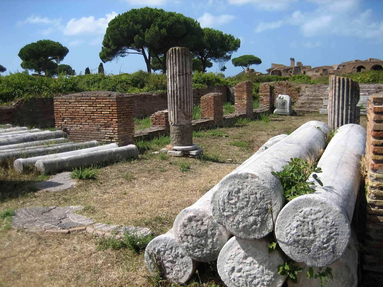 Sky Green Color Tree Outdoors Religion No People History Day Ancient Civilization Ostia Antica Tourism Travel Ruins Historic Historical Monuments Roman Roman Empire Colums Bricks Landscapes Italy Italy❤️ Adapted To The City Miles Away