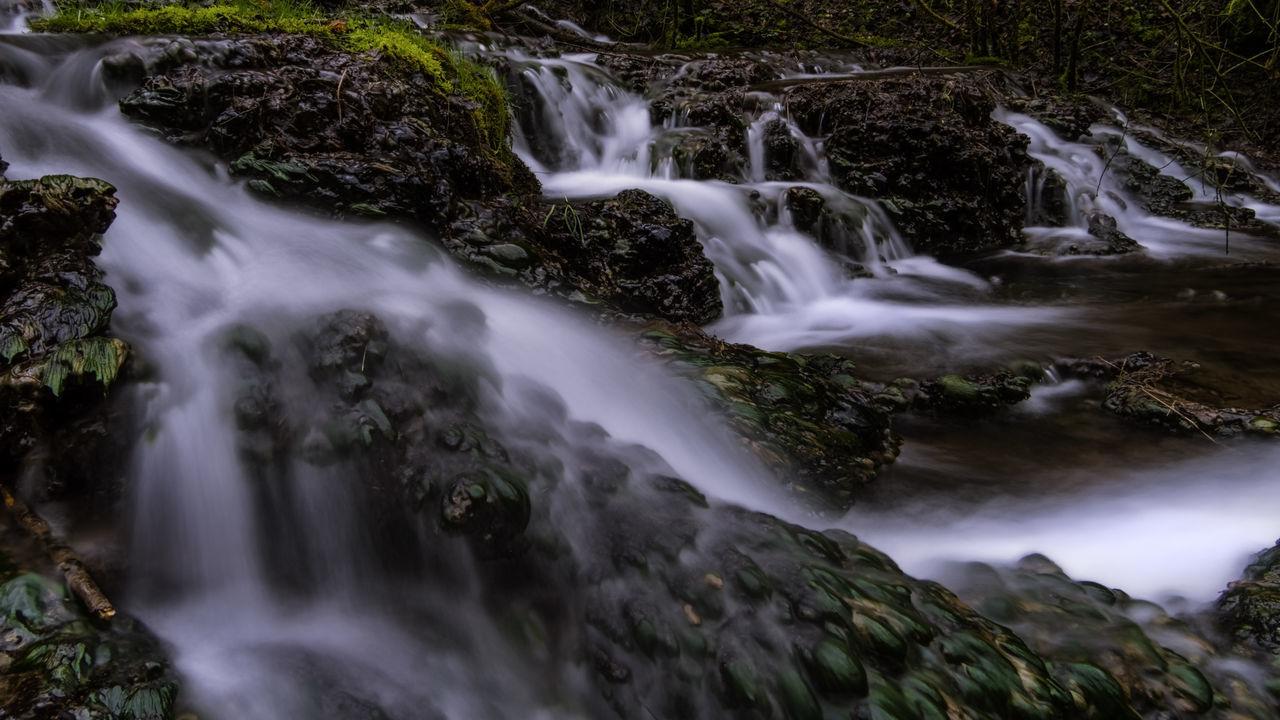 Guttenburg Guttenburger Bach Landkreis Mühldorf Langzeitaufnahme Steine Totholz Wasserfall Wasserpflanzen