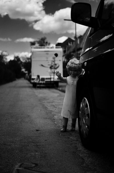 Creepy Blackandwhite Road One Person Not Real People Land Vehicle Mode Of Transport Sky Rear View Road Full Length Childhood Boys Day Standing Outdoors Men One Boy Only People Stop