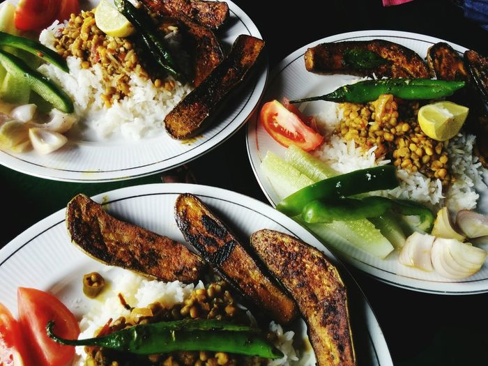 Food Porn Awards Bengali Aubergine Pulses cholar dal, brinjal fry and rice