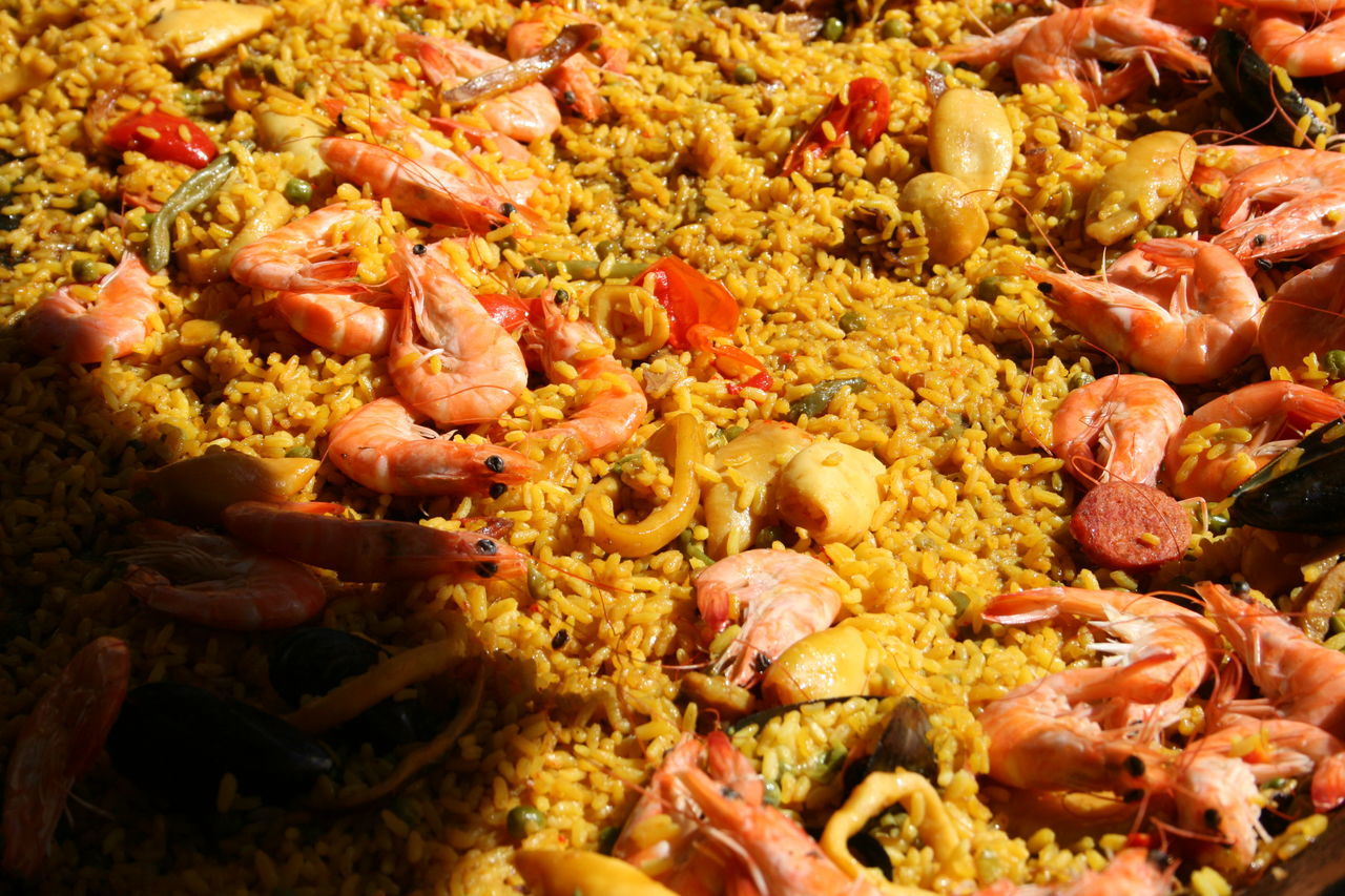 Abundance Arrangement Backgrounds Choice Collection Couscous Fish Fish Paella Food Food And Drink For Sale Freshness Full Frame Heap Large Group Of Objects Market Market Stall Merchandise Paella Repetition Retail  Retail Display Variation Vegetable