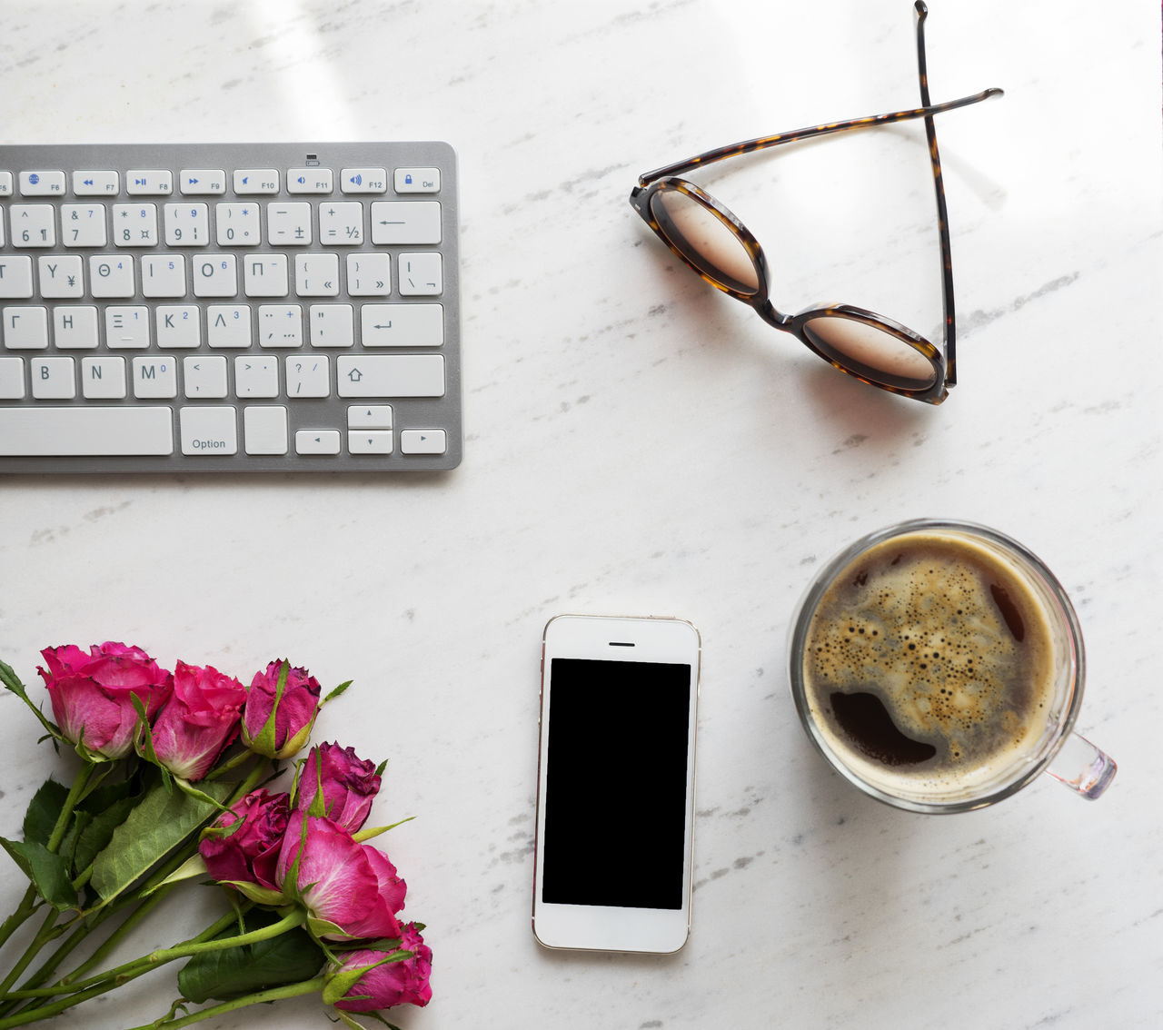 Coffee Coffee - Drink Coffee Cup Computer Computer Keyboard Desk Flower Keyboard Marble Mobile Phone Morning Light Office Office Phone Roses Smartphone Sunglasses Table Top View Work