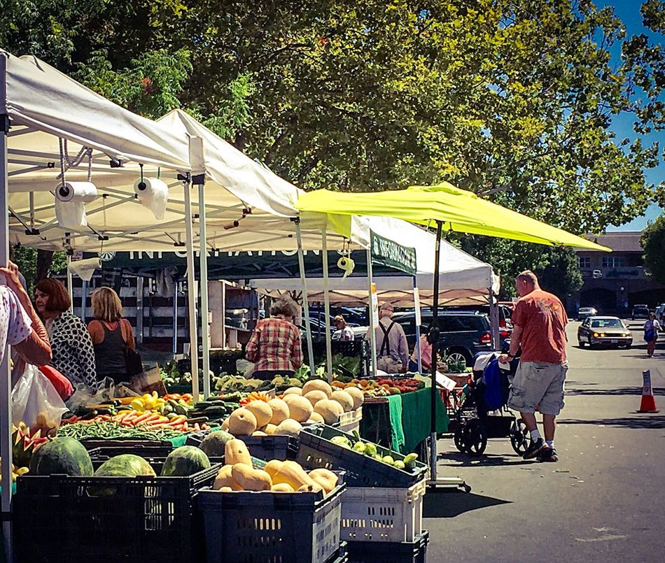Fatherhood Moments Father & Son People Women Men Tents Umbrella Booth Food Vegetables Fruits Road Colors Trees Farm Markets San Francisco East Bay California Food Basket Baskets Father And Daughter Melons Watermelon Cantaloupe Market People And Places