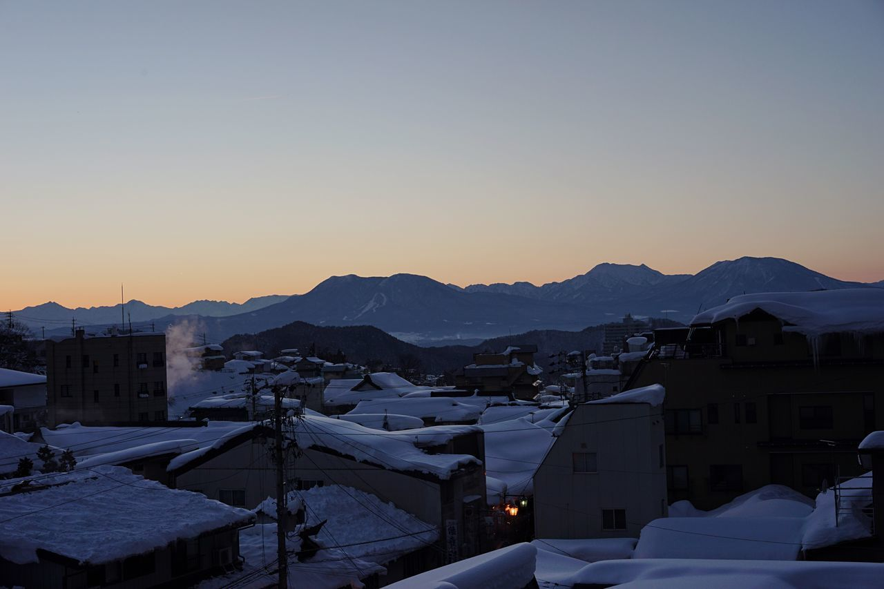 Oku shiga sky area Winter Snow Cold Temperature House Mountain Built Structure No People Architecture Building Exterior Residential Building City Nature Outdoors Sky Day Travel Destinations Japanese Architecture Steam Hot Spring Japanese Traditional Onsen Cityscape Mountain Range Sunset Tradition