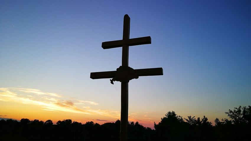 Sunset Sky Double Cross Hungary Old Hungarian Map