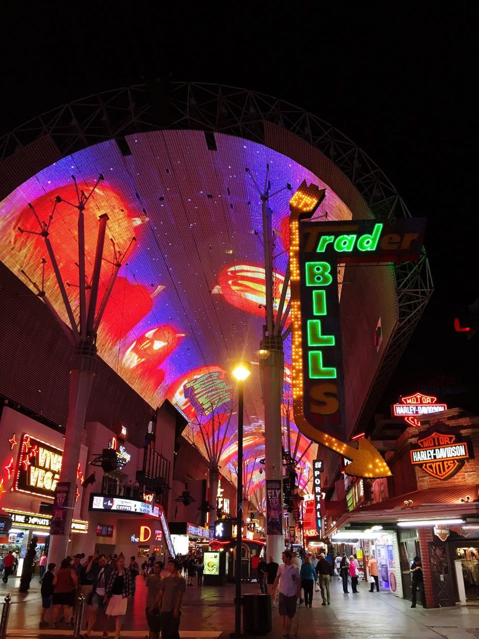 Illuminated Nightlife Large Group Of People City Neon Travel Destinations Multi Colored Vertical Crowd VEGAS🎲 Fremont Street Awning Signboard Downtown Las Vegas rad BILL Jackolanterns Halloween Urban Exploration The City Light
