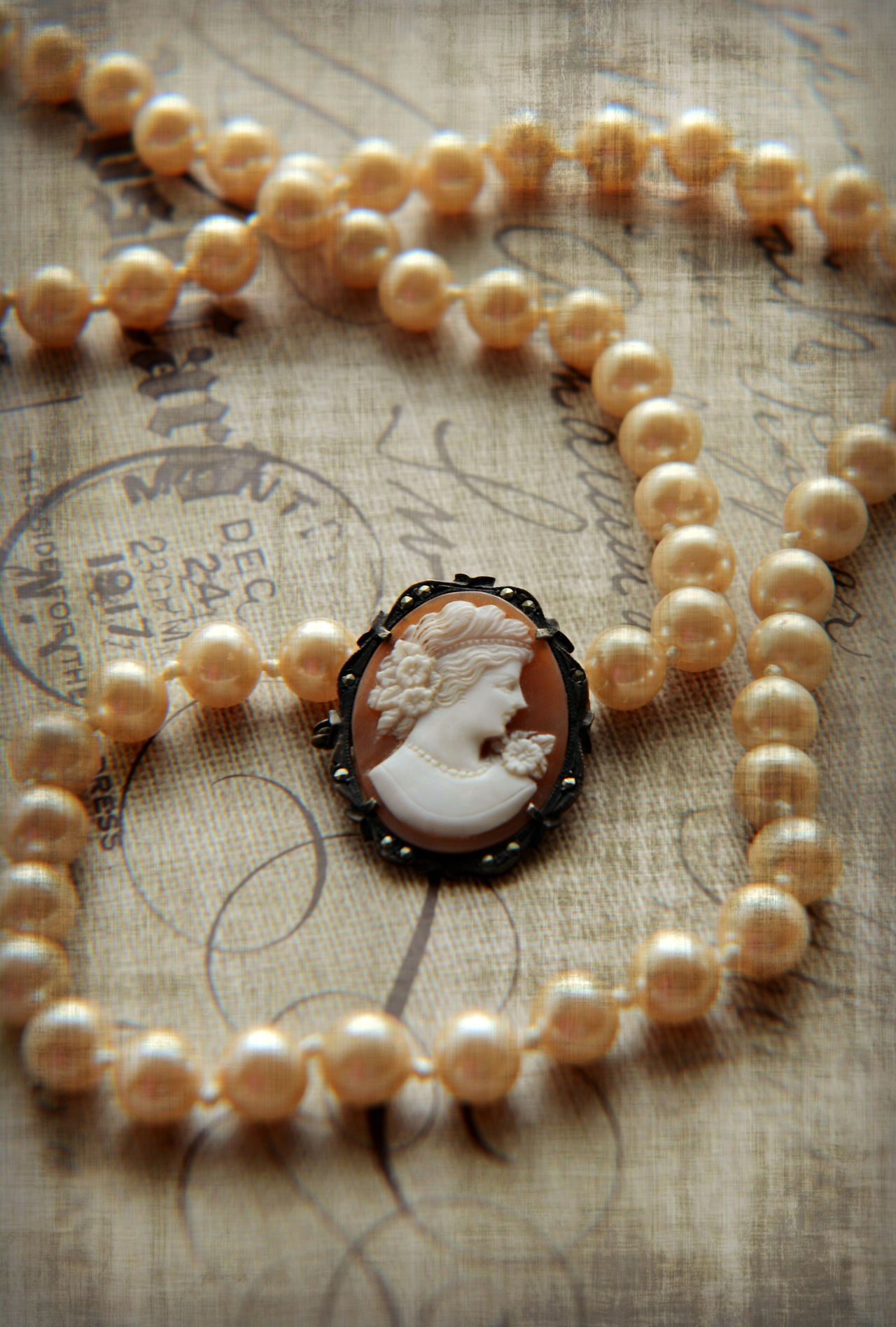 Antique Cameo  Close-up Indoors  Jewelry Love Necklace No People Old Old-fashioned Pearls, Place Of Heart Vintage