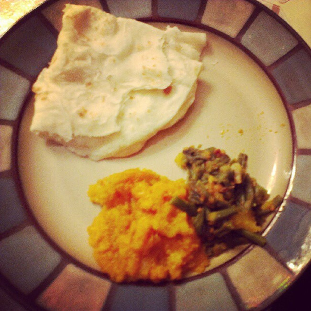 GT style fried bora with aloo and pumpkin!!! Roti Bhojan Homemade Guyanese