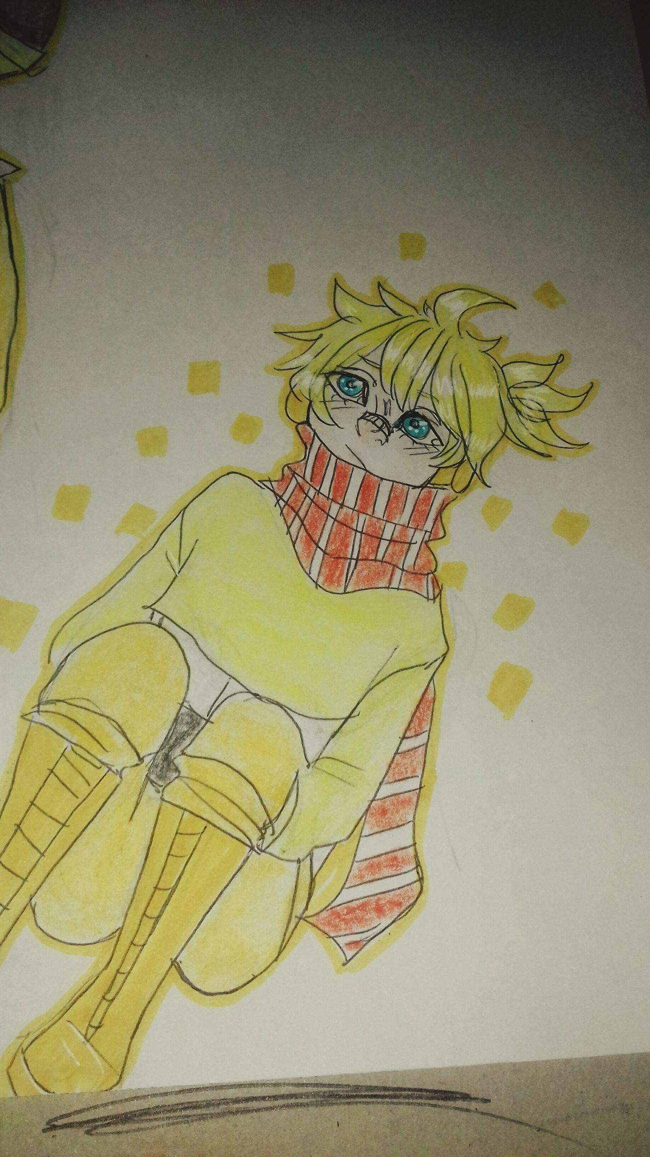 Len Kagamine Len KagamineLen Drawing Boy Blue Eyes Blonde Hair Phtography
