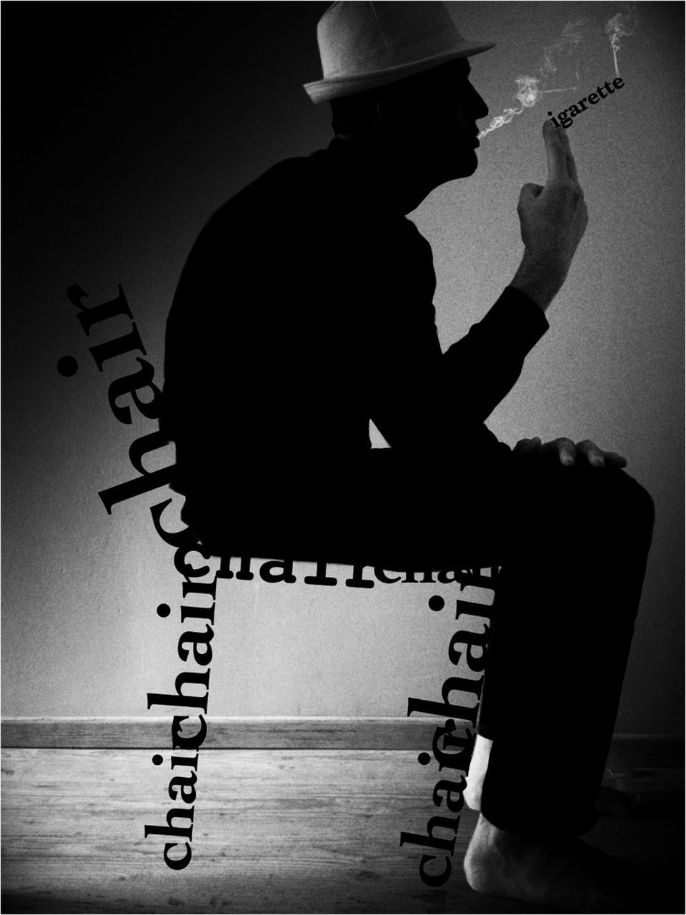 real people, text, indoors, lifestyles, one person, leisure activity, sitting, silhouette, skill, arts culture and entertainment, men, musician, day, people