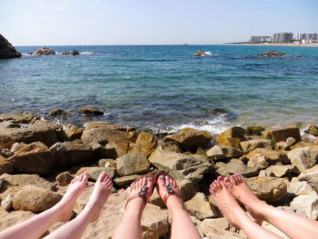 Barefoot Beach Blanesturismo Blue Feets Friends Horizon Over Water Human Body Part Leisure Activity Lifestyles Low Section Person Personal Perspective Real People Relaxation Sea Shore Shoreline Spa SPAIN Stone Summer Sunlight Vacations Water