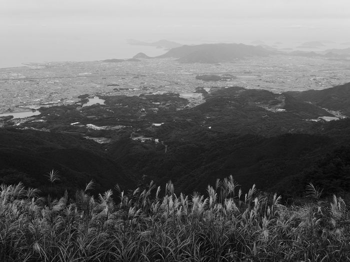 Beauty In Nature Black And White Day Down Field Gradation Green Island Japan Kagawa Prefecture Landscape Layer Monument Nature No Filter No People Outdoors Overlook Quiet Rain Realise Rêverie Sea Town Tranquility
