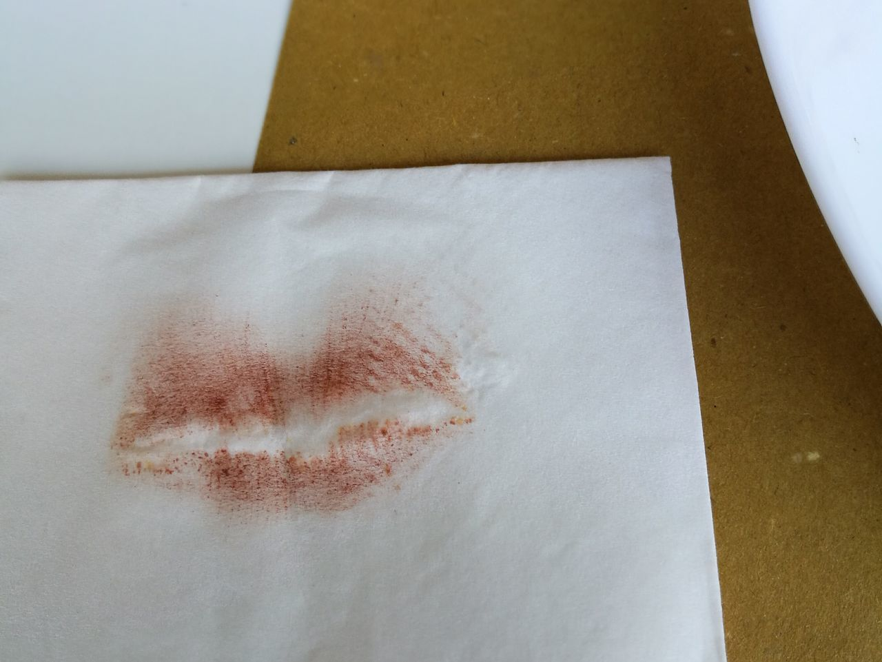 Kiss lipstick paper towel indoor Close-up Fragility Lonly Girl Bar Launch Time Love Thing