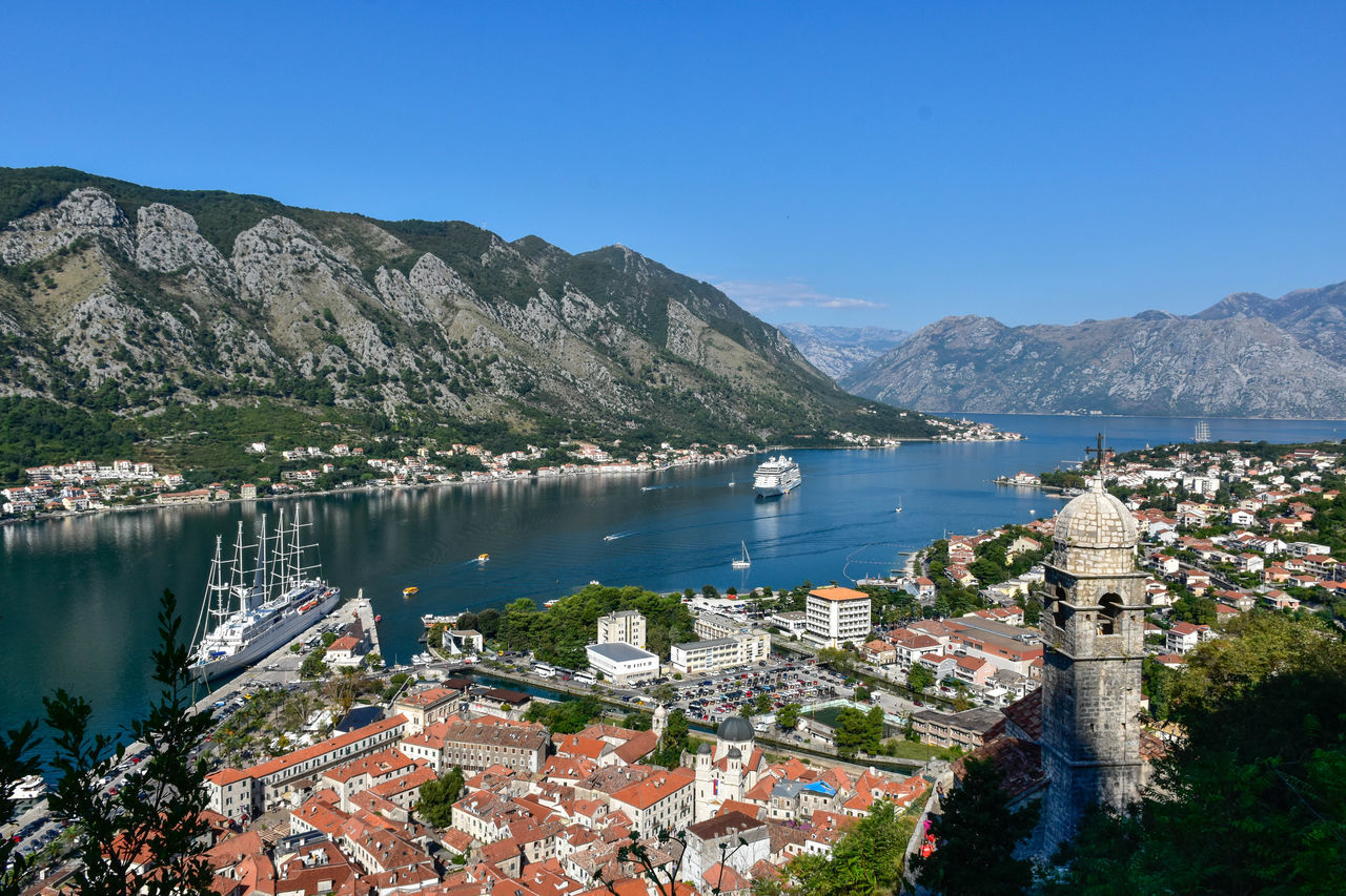 Bay of Kotor as viewed from Mt. Lovćen. Adriatic Coast Betterlandscapes Blue Clear Sky Cruise Ship Kotor Kotor Bay Kotor, Montenegro Landscape Nautical Vessel Nikon D5500 Outdoors Sailboat Sea Travel Destinations Water