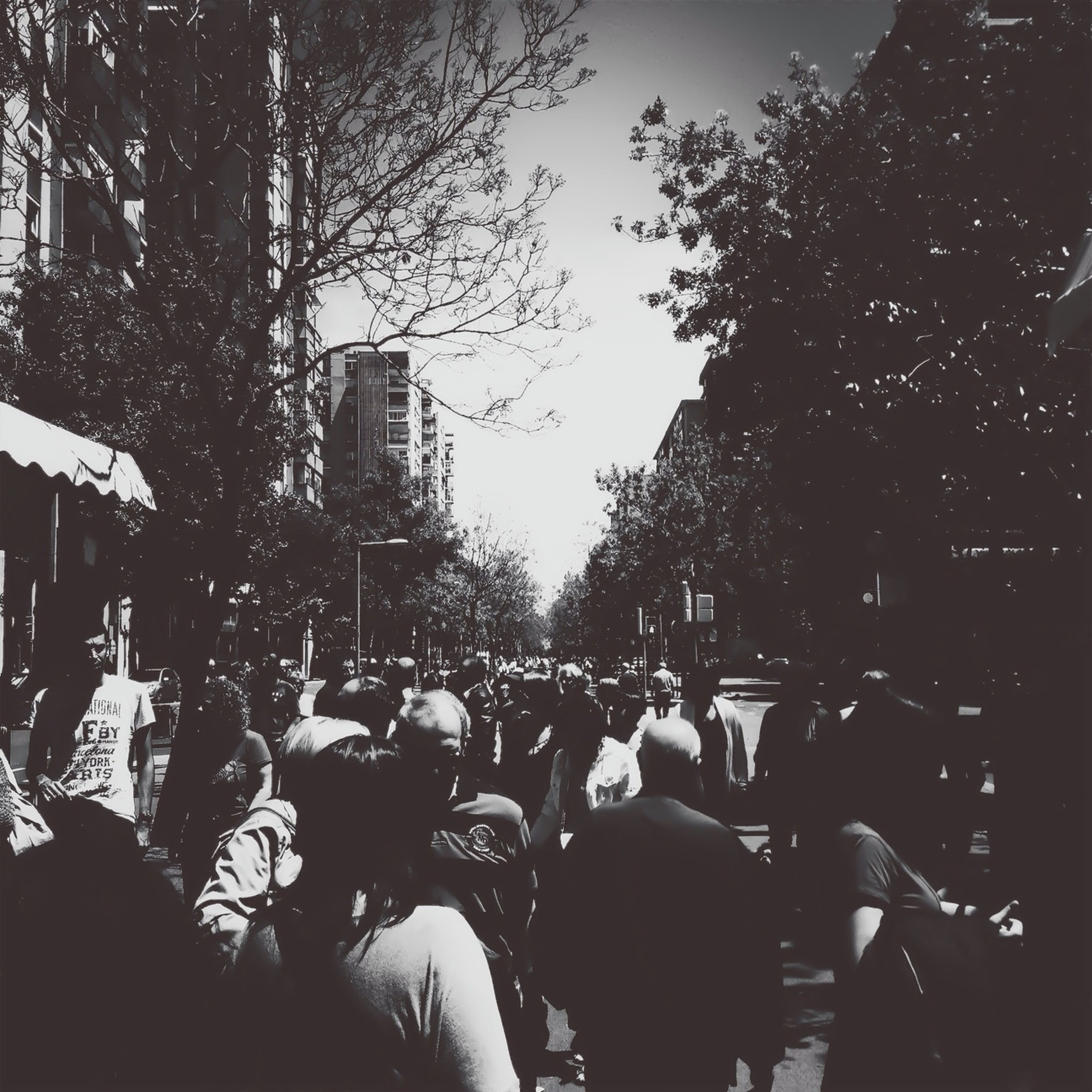 large group of people, crowd, men, person, lifestyles, building exterior, leisure activity, city, tree, city life, street, built structure, architecture, silhouette, mixed age range, togetherness, crowded, clear sky, outdoors