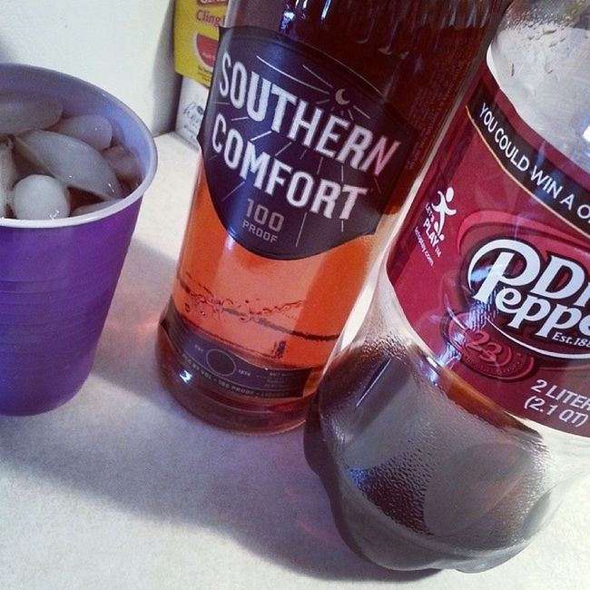 "I walked in & Liz said ""we are in the comfort of a southerner.."" haha SouthernComfort 100Proof"