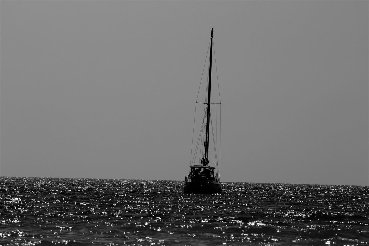 Open waters. Boat Clear Sky Eye4photography  EyeEm EyeEm Gallery Horizon Over Water Mast Nature Nautical Vessel Outdoors Photography Popular Popular Photo Popular Photos Sailboat Sailing Sailing Boat Sea Sea And Sky Taking Photos Tranquil Scene Tranquility Tranquility Transportation Water