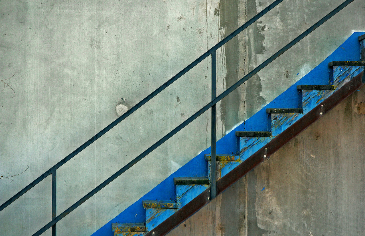 Blue Blue Color Stair Stairs Stairway Stairways Staircase Stairs_collection Stairway To Heaven Stairporn Stairs & Shadows Copy Space Simple Angles And Lines Geometry Geometric Shape Architecture Building Exterior Concrete Concrete Wall Blue Stairs Pattern No People Backgrounds Built Structure