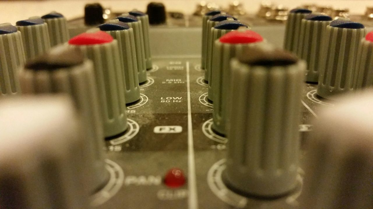 BEHRINGER Mixer Controls Audio Board Panel Knobs Music Closeup Musical Instruments Close-up