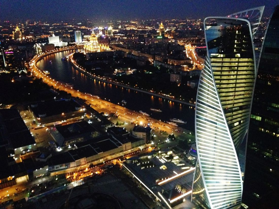 Moscow river from above Moscow Moscow River City Skyline From Above  Night EyeEmNewHere