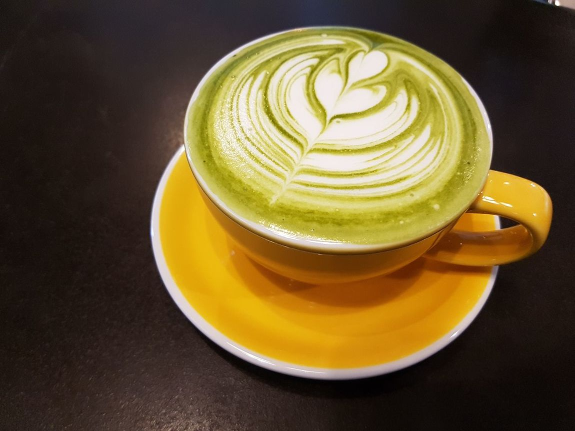 Drink Matcha Green Tea Refreshment Close-up Indoors  Latte Food And Drink Yellow Cup