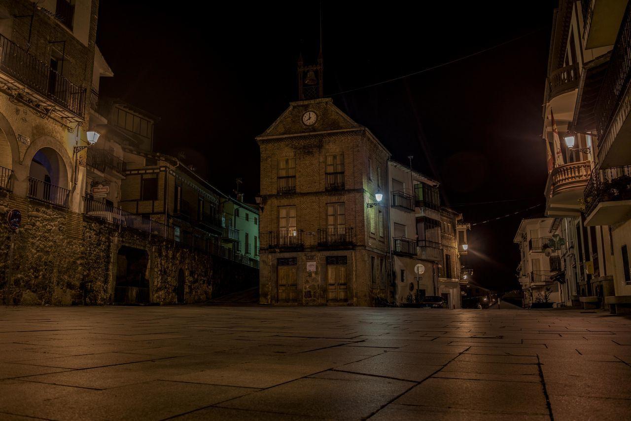 Architecture Avila Building Exterior Clock Gredos Illuminated Night No People Santa Cruz Del Valle