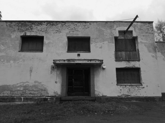 Architecture Building Exterior Built Structure No People Day Abandoned Buildings Abandon_seekers Abandoned_junkies Blackandwhite Cubic Houses Sealed Old Buildings Doorway Windows And Doors Geometric Shapes