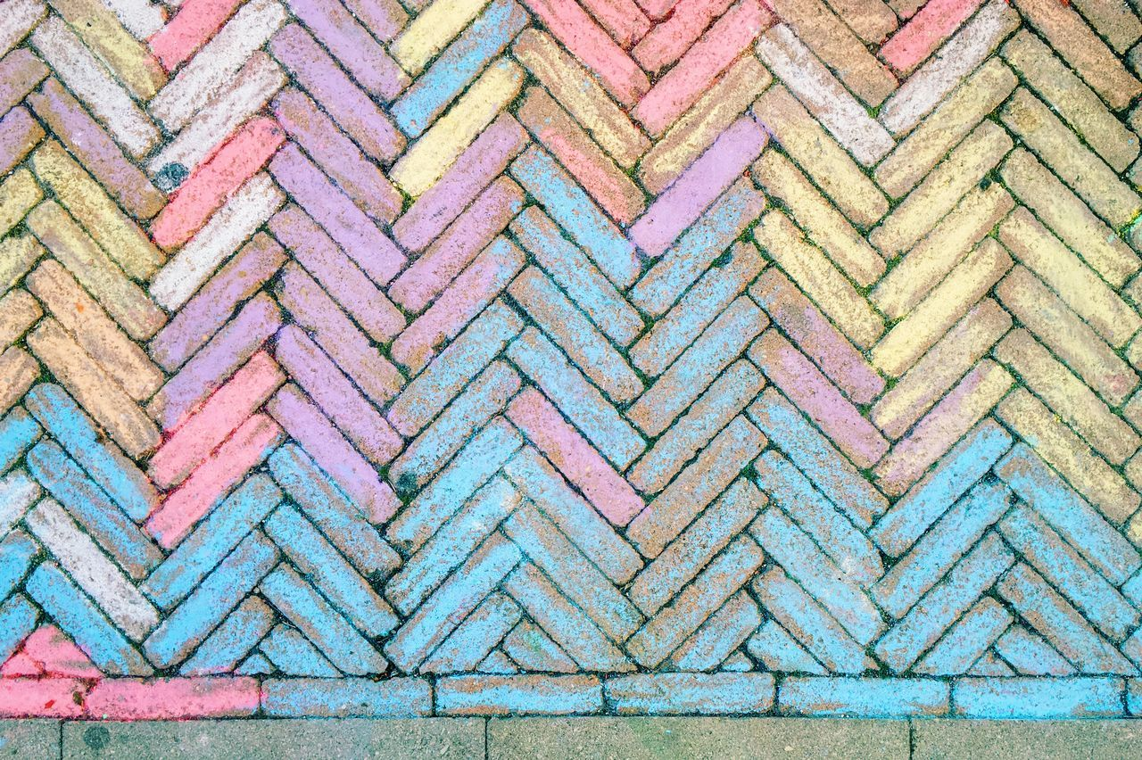 The color in the tiles Backgrounds Blue Brick Wall Close-up Colored Detail Fishbone Fishbone Floor Geometric Shape No People Pattern Repetition Side By Side Tile