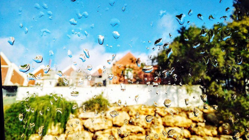Rain Drop Backgrounds Window Sky Wet Water Full Frame