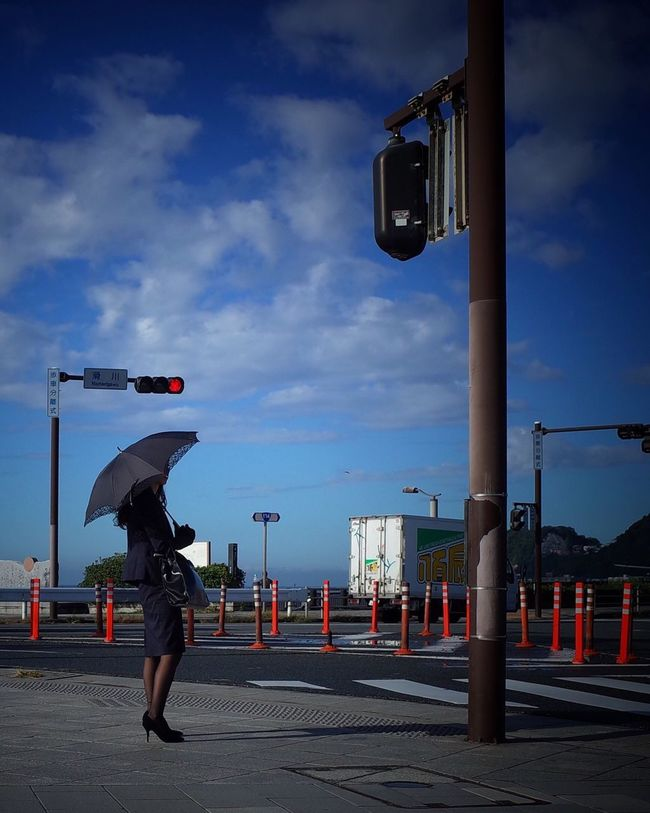 Streetphotography Street Photography Traffic Signal Parasol Sky And Clouds