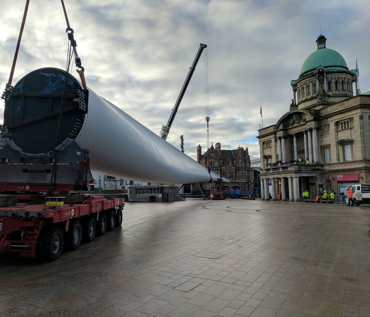 Siemens wind turbine blade is lifted into position in Hull's Queen Victoria Square (08/01/2017) during Hull 2017 City Of Culture Architecture Blade City Cloud - Sky Day Hull Hull 2017 Hull City Of Culture 2017 Hull2017 No People Outdoors Siemens  Sky Turbine Wind Turbine