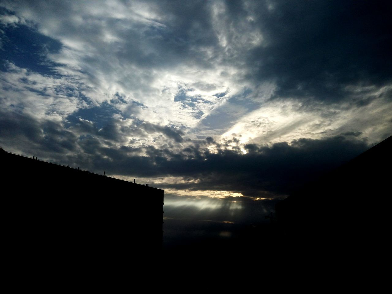 sky, no people, tranquility, tranquil scene, cloud - sky, beauty in nature, nature, outdoors, scenics, silhouette, sunset, day