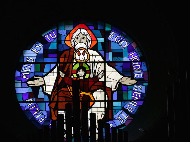 Modern Stained Glass Window, Iglesia Betlem Art Art And Craft Barcelona Church Close-up Colorful Composition Creative Creativity Dark Full Frame Human Representation Indoor Photography Multi Colored No People Place Of Worship Religion Spaın Stained Glass Window Window