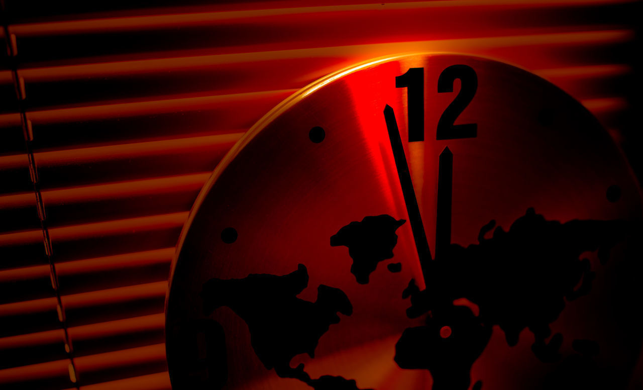clock, no people, time, indoors, close-up, night, clock face, minute hand, hour hand