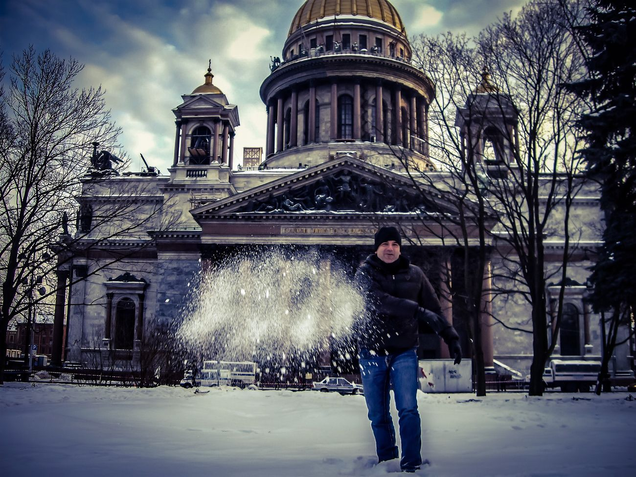 Saint Petersburg Russia Saint Isaac's Cathedral Snow ❄ Winter Snowball Cold Temperature Outdoors One Person Young Adult Adults Only Building Exterior Architecture Religion Cathedral Real People Travel Destinations Travel Photography Leisure Activity Lifestyles