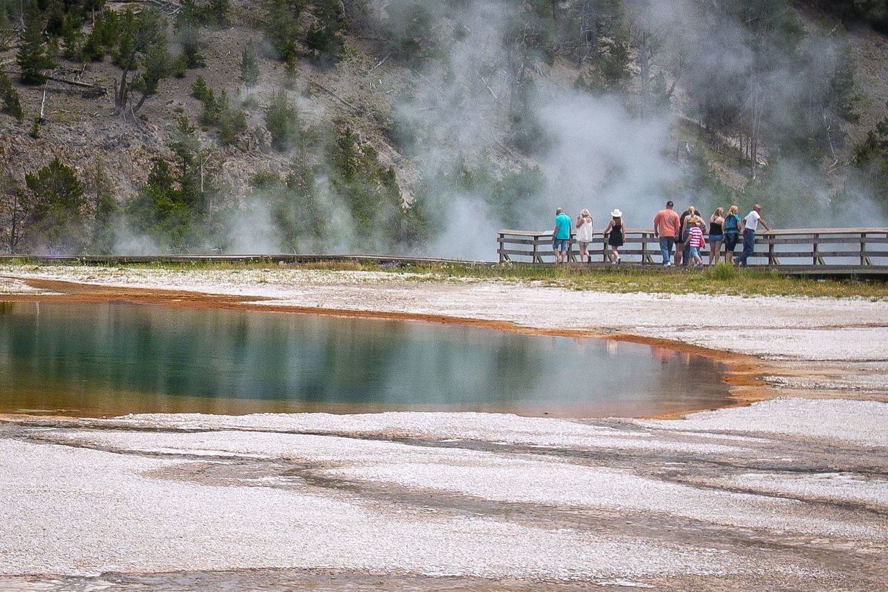 Grand Prismatic Spring Yellowstone National Park Real People Water Leisure Activity Outdoors Large Group Of People National Park Geothermal  Natural Beauty Tourism Beauty In Nature Tranquil Scene Travel Destinations Geology Scenics Hot Spring Natural Wonders Nature